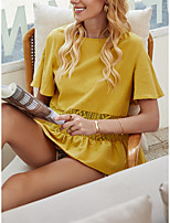 cheap -Women's Blouse Solid Colored Tops - Pleated Patchwork Round Neck Daily Summer Yellow S M L XL