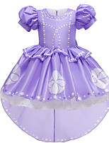 cheap -Princess Sofia Dress Flower Girl Dress Girls' Movie Cosplay A-Line Slip Purple Dress Christmas Halloween Children's Day Polyester