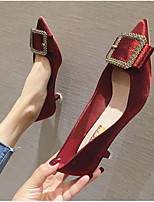cheap -Women's Wedding Shoes Summer Stiletto Heel Pointed Toe Daily Solid Colored PU Black / Burgundy / Beige