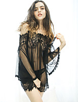 cheap -Women's Lace Mesh Babydoll & Slips Suits Nightwear Jacquard Solid Colored Embroidered White / Black One-Size