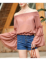 cheap -Women's Blouse Shirt Solid Colored Off Shoulder Tops Summer Blushing Pink