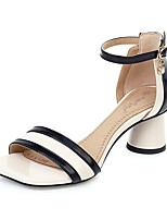 cheap -Women's Sandals Summer Cone Heel Open Toe Business British Daily Party & Evening PU Almond / White / Black