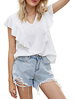 cheap -Women's T-shirt Solid Colored V Neck Tops Loose Cotton Summer White