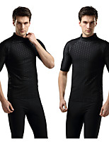 cheap -Men's Rash Guard Elastane Top Breathable Quick Dry Short Sleeve Swimming Diving Water Sports Solid Colored Autumn / Fall Spring Summer / Stretchy