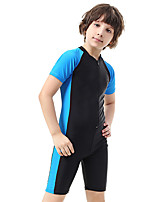 cheap -Boys' Girls' One Piece Swimsuit Bodysuit Thermal / Warm Breathable Quick Dry Short Sleeve Front Zip - Swimming Surfing Water Sports Patchwork Autumn / Fall Spring Summer / Stretchy / Kid's