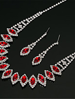 cheap -Women's White AAA Cubic Zirconia Stud Earrings Choker Necklace Bridal Jewelry Sets Tennis Chain Mini Stylish Luxury Earrings Jewelry Red / Blue / Green For Wedding Party Engagement 1 set