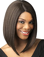 cheap -Synthetic Wig Natural Straight Bob Middle Part Wig Medium Length Light Brown Wine Red Brown Black Dark Brown#2 Synthetic Hair 14 inch Women's Fashionable Design Creative Party Burgundy Brown