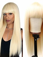 cheap -Remy Human Hair Wig Long Natural Straight With Bangs Blonde Party New Arrival Fashion Capless Women's Bleach Blonde#613 18 inch