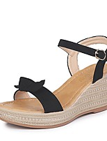 cheap -Women's Sandals Summer Wedge Heel Peep Toe Daily Solid Colored PU Almond / Black / Yellow