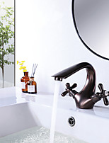 cheap -Bathroom Sink Faucet Oil Rubbed Bronze Hot and Cold Single Hole Double Handle Cross Knobs Basin Mixer Tap with Vanity Sink Drain with Overflow