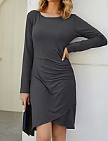 cheap -Women's A-Line Dress Knee Length Dress - Long Sleeve Solid Color Ruched Spring Summer Casual Daily 2020 Black Khaki Gray S M L XL XXL