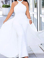 cheap -Jumpsuits Sexy Plus Size Engagement Prom Dress Halter Neck Sleeveless Floor Length Satin with Sleek 2020