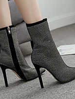 cheap -Women's Boots Summer Stiletto Heel Pointed Toe Daily Solid Colored PU Almond / Black