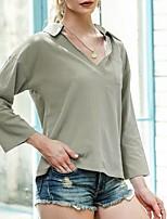 cheap -Women's Blouse Shirt Solid Colored Long Sleeve Shirt Collar Tops Basic Top Black Blue Blushing Pink