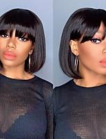 cheap -Remy Human Hair Wig Short Medium Length Straight With Bangs Natural Black Party Women Easy dressing Capless Brazilian Hair Malaysian Hair Women's Girls' Natural Black #1B 8 inch 10 inch 12 inch
