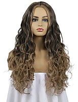 cheap -Synthetic Wig Curly Wavy Middle Part Wig Long Black / Brown Synthetic Hair 24 inch Women's Party New Arrival Fashion Brown