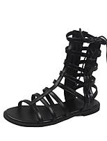cheap -Women's Sandals Roman Shoes / Gladiator Sandals Summer Flat Heel Open Toe Daily PU Black