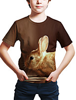 cheap -Kids Toddler Boys' Active Street chic Rabbit 3D Animal Print Short Sleeve Tee Brown