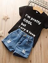 cheap -Kids Girls' Basic Chinoiserie Daily Wear Festival Solid Colored Short Sleeve Regular Regular Clothing Set Black
