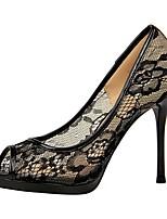 cheap -Women's Heels Summer Stiletto Heel Open Toe Daily Solid Colored Lace White / Black / Purple