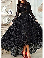 cheap -A-Line Elegant Floral Engagement Formal Evening Dress Jewel Neck Long Sleeve Asymmetrical Lace with Lace Insert 2020