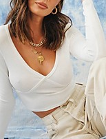 cheap -Women's Blouse Solid Colored V Neck Tops Slim Cotton Fall White Black Gray