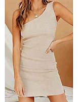 cheap -Women's Sheath Dress Short Mini Dress - Sleeveless Solid Color Summer Sexy Daily 2020 Black Green Beige Gray S M