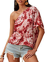 cheap -Women's Blouse Tie Dye Tops One Shoulder Daily Summer Red S M L XL