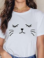 cheap -Women's T-shirt Graphic Prints Print Round Neck Tops 100% Cotton Basic Basic Top White Black Yellow
