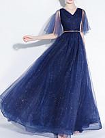 cheap -A-Line Elegant Sparkle Engagement Formal Evening Dress V Neck Half Sleeve Floor Length Tulle with Sequin 2020