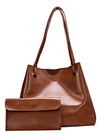 cheap -Women's PU Leather Tote Leather Bags Solid Color Black / Light Gray / Brown