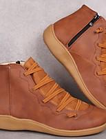 cheap -Women's Boots Fall Winter Flat Heel Round Toe Sweet Preppy Daily Outdoor PU Elastic Fabric Wine / Dark Brown / Black