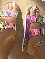 cheap -Women's Slippers & Flip-Flops 2020 Summer / Fall Flat Heel Open Toe Vintage Daily Home Buckle Leopard Rainbow Faux Leather Clear / Leopard / White