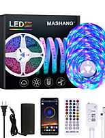 cheap -MASHANG 15m 3x5M Flexible LED Light Strips Light Sets RGB Strip Lights 810 LEDs 2835 SMD 8mm 1 set RGB Color-changing Christmas New Year's APP Control Party Self-adhesive 100-240 V