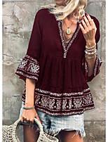 cheap -Women's Shirt Tribal Print V Neck Tops Cotton Chinoiserie All Seasons Wine Blue Light gray