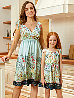 cheap -Mommy and Me Vintage Sweet Floral Color Block Lace up Print Sleeveless Knee-length Dress Blue