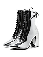 cheap -Women's Boots 2020 Cuban Heel Pointed Toe Casual Basic Daily Solid Colored PU Mid-Calf Boots Walking Shoes Black / Silver
