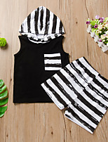 cheap -Kids Toddler Boys' Chinoiserie Daily Wear Festival Striped Solid Colored Sleeveless Regular Regular Clothing Set Black