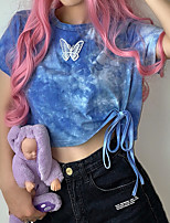 cheap -Women's T shirt Tie Dye Shirt Crop Top Tee / T-shirt Blue Tie Dye Navel Crew Neck Color Block Cute Sport Athleisure T Shirt Short Sleeves Breathable Soft Comfortable Yoga Exercise & Fitness Running