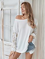 cheap -Women's Blouse Floral Color Block Patchwork Print Boat Neck Tops Basic Fall White Khaki Green