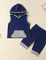 cheap -Kids Toddler Boys' Active Basic Daily Wear Festival Blue Striped Print Sleeveless Regular Regular Clothing Set Navy Blue