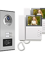 cheap -4.3 Wired Video Doorbell Video Intercom Multi-User Direct Press Visual Intercom Doorbell Network Cable With Camera 2 Monitors Video Door Phone Intercom System