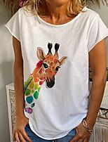cheap -Women's T-shirt Animal Round Neck Tops White Blue Yellow