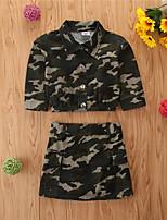 cheap -Toddler Girls' Basic Casual Print Long Sleeve Regular Regular Clothing Set Army Green