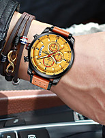 cheap -NIBOSI Men's Sport Watch Quartz Modern Style Stylish Casual Water Resistant / Waterproof Leather Analog - Golden / Brown Brown Coffee / Stainless Steel / Noctilucent