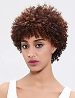 cheap -Synthetic Wig Afro Curly Free Part Wig Short Dark Brown Synthetic Hair 10 inch Women's Party New Arrival Comfortable Dark Brown