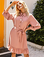 cheap -Women's Swing Dress Knee Length Dress - 3/4 Length Sleeve Solid Color Ruffle Spring Summer Casual Daily Puff Sleeve 2020 Blushing Pink XS S M L