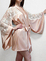 cheap -Women's Lace Robes Suits Nightwear Patchwork Jacquard Embroidered Beige One-Size