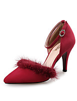 cheap -Women's Sandals Spring Fall Pumps Pointed Toe Party & Evening Office & Career Suede Black / Red