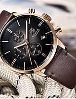 cheap -BENYAR Men's Sport Watch Quartz Modern Style Stylish Casual Water Resistant / Waterproof Leather Analog - Golden / Brown Brown / Stainless Steel / Calendar / date / day / Chronograph